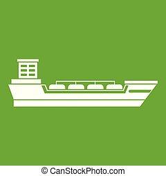 Oil tanker ship icon green - Oil tanker ship icon white...