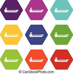 Oil tanker ship icon set color hexahedron - Oil tanker ship...