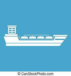 Oil tanker ship icon white isolated on blue background...