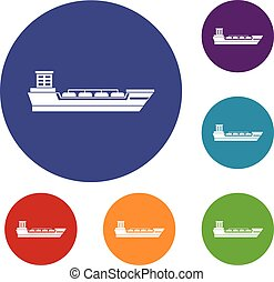 Oil tanker ship icons set in flat circle reb, blue and green...