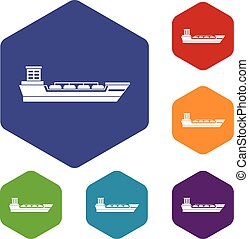 Oil tanker ship icons set