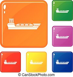 Oil tanker ship icons set vector color - Oil tanker ship...