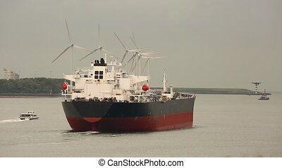 Oil Tanker Ship - Large crude oil tanker ship heading out to...