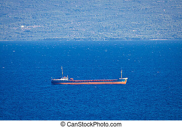 Oil tanker ship on sea view