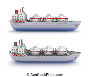 Oil tanker ship on white background