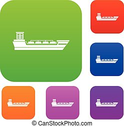 Oil tanker ship set collection - Oil tanker ship set icon in...