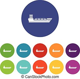 Oil tanker ship set icons in different colors isolated on...
