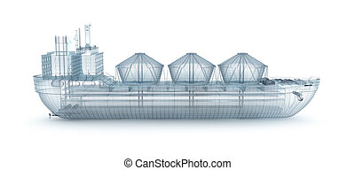 Oil tanker ship wire model isolated