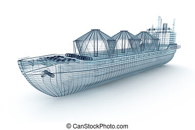 Oil tanker ship wire model isolated on white. My own design. 3D illustration.
