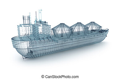 Oil tanker ship wire model isolated on white. My own design