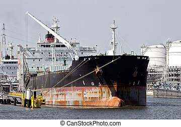 Oil tanker shipping terminal port