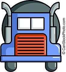 Oil tanker truck icon, cartoon style