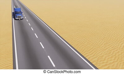 Oil tanker truck on road among abstract desert 3D - High...