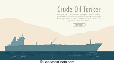 Oil tanker. Vector illustration - Oil tanker near the shore...