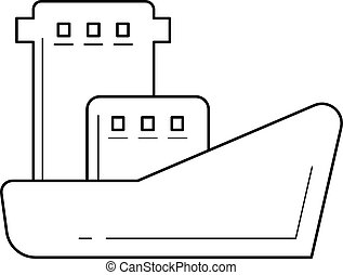 Oil tanker vector line icon. - Oil tanker vector line icon...