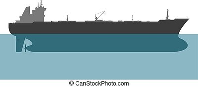 Oil tanker. Vector - Oil tanker on white background. Vector...