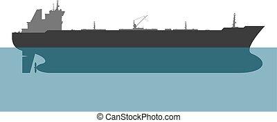 Oil tanker. Vector - Oil tanker on white background. Vector...