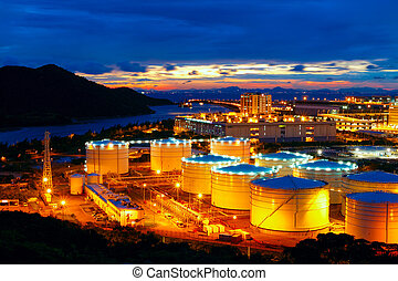 Oil tanks at night , hongkong tung chung