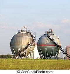 oil tanks on field industry zone