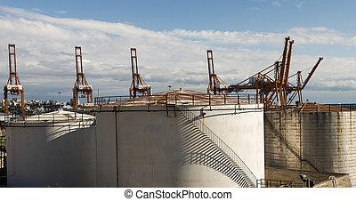 Oil tanks on the Perama port