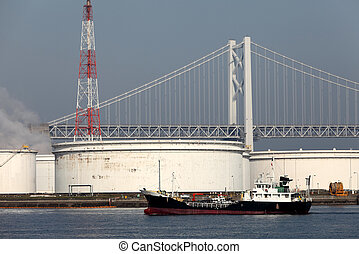 Oil tanks - Industrial storage tanks at oil refinery