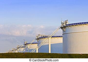Oil tanks in the evening light