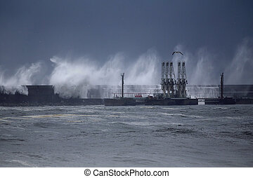 Oil terminal under heavy storm