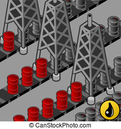 oil towers in production - Detailed animation of a oil...