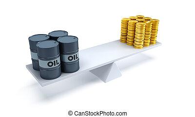 oil trading concept - black oil barrels and money...