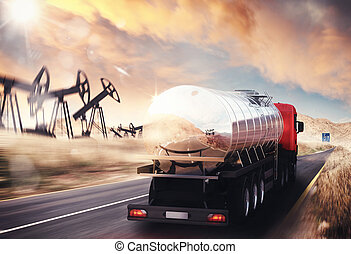 Truck with oil tank driving on asphalt