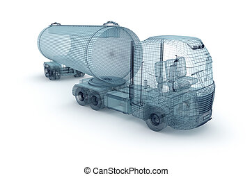 Oil truck with cargo container, wire model. My own design