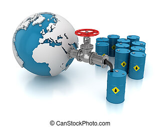 Oil Valve with World Map