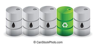 oil vs alternative oil illustration design over a white ...