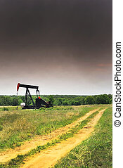 West Texas oil well pumper before the storm.