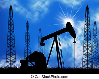Oil Wells Representing Power Source And Electric