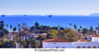Oil Wells Offshore Platforms Court House Buildings Coastline Main Street Pacific Oecan Santa Barbara California