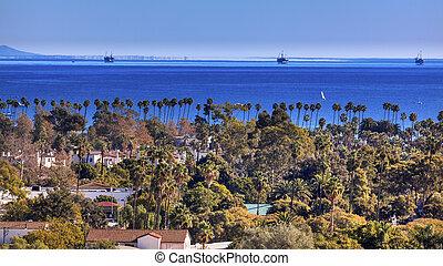 Oil Wells Offshore Platforms Houses Buildings Coastline Pacific Oecan Santa Barbara California