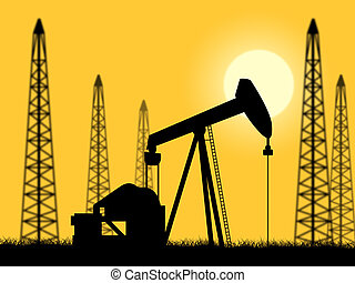 Oil Wells Indicating Power Source And Refinery