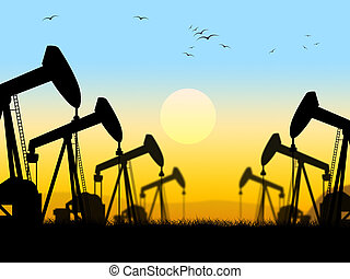 Oil Wells Indicating Oilfield Extraction And Industry