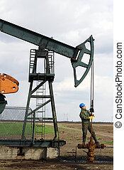 oil worker check pumpjack