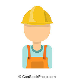 Oil worker icon in cartoon style isolated on white background. Oil industry symbol stock bitmap, rastr illustration.