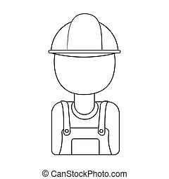 Oil worker icon in outline style isolated on white background. Oil industry symbol stock bitmap, rastr illustration.