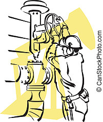 Illustration of an oil worker to work
