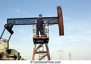 oil worker on pump jack