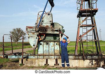 oil worker working on oilfield