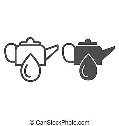Oiler can line and glyph icon. Oiling can vector illustration isolated on white. Motor oil outline style design, designed for web and app. Eps 10.