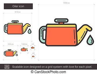 Oiler line icon. - Oiler vector line icon isolated on white...