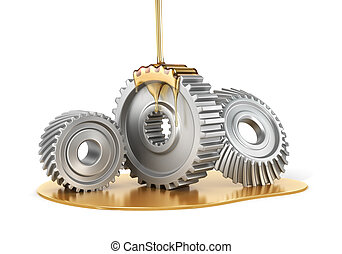 Oiling Gears. 3d illustration