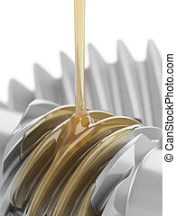Oiling Gears Close-up - Oiling gears close up shot