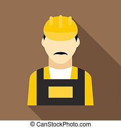 Oilman icon, flat style
